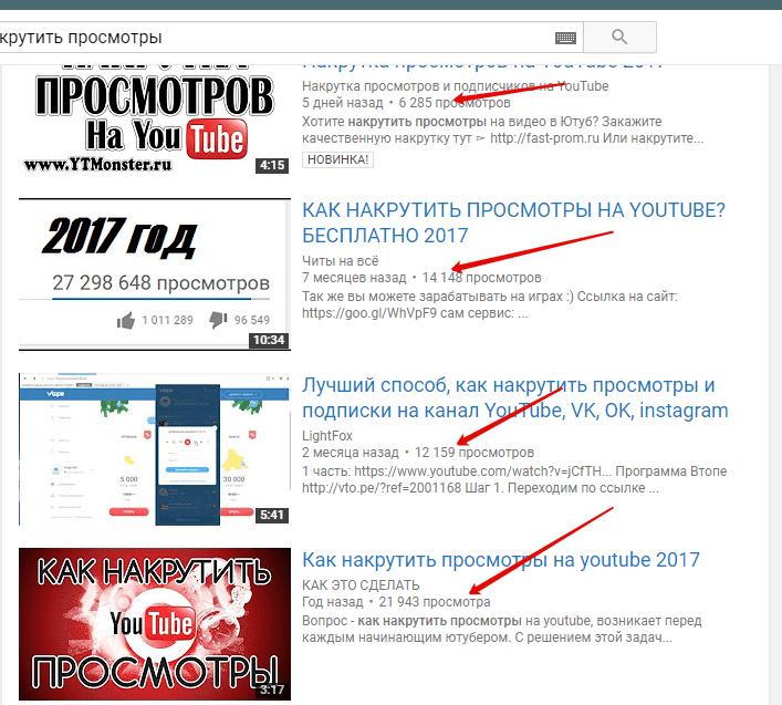 Число просмотров на Youtube
